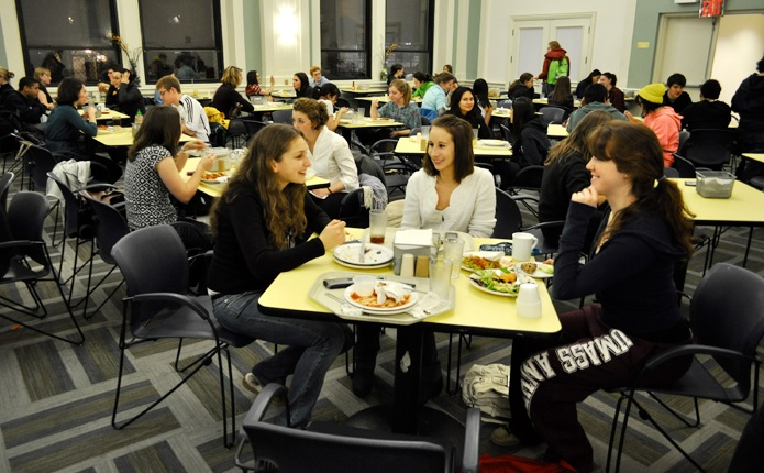 Students enjoying their meals at the Hewitt Dining Hall