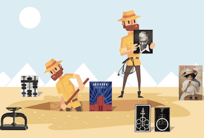 cartoon of two men diging up an archeological site