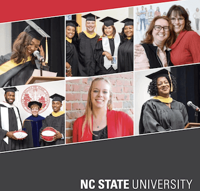 NC state advertisement with pictures of graduates