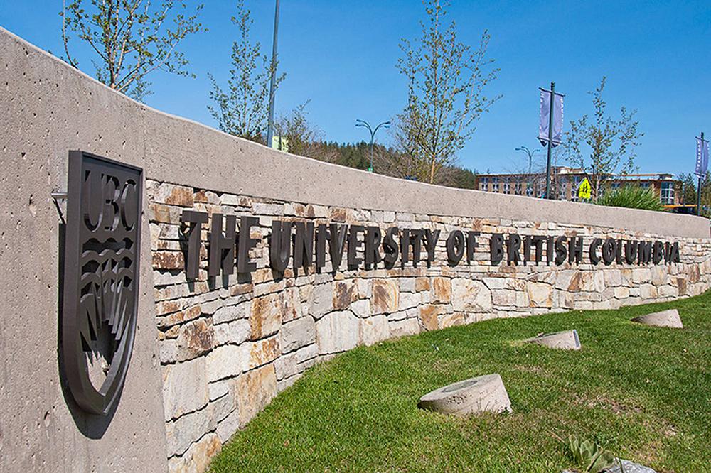 The main sign at the entrance of University of British Columbia – Okanagan