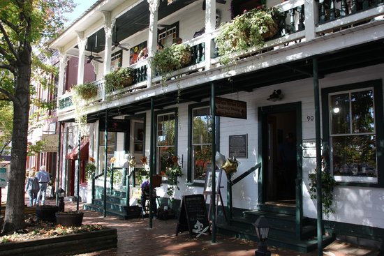 The beautiful and classic front view of the Bourbon Grille restaurant.