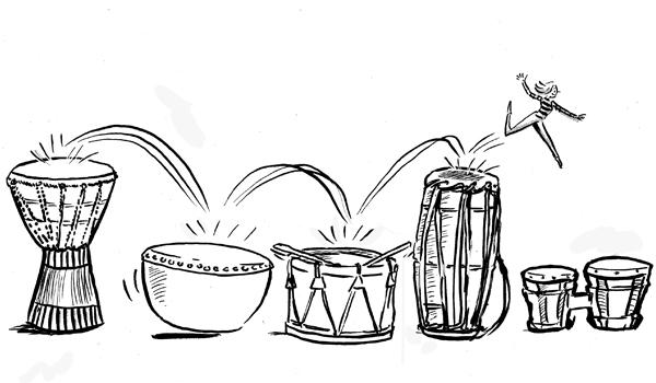 a person dancing on different instruments