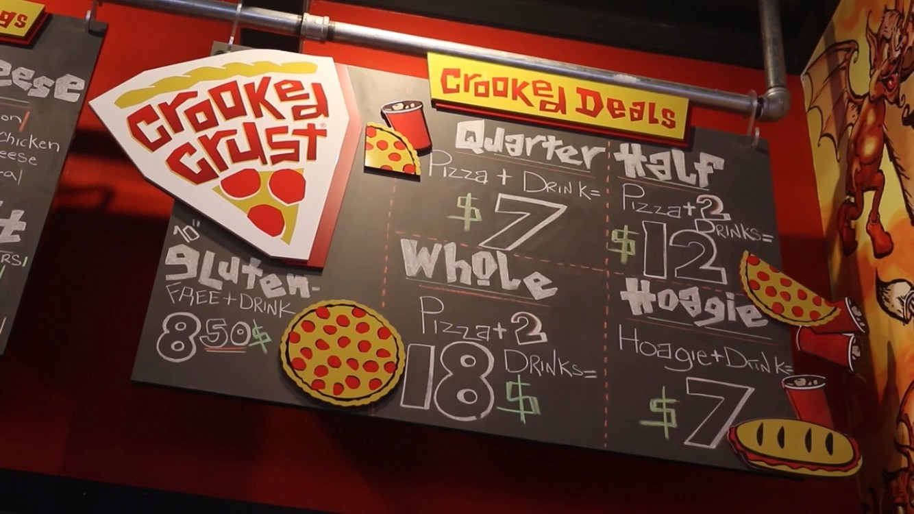 Great deals at the Crooked Crust restaurant.