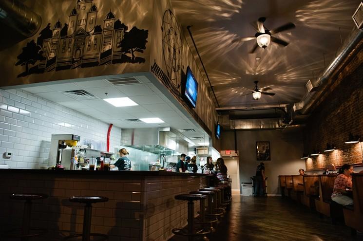 Unique and Cozy Interior of the Dix Coney Island restaurant.
