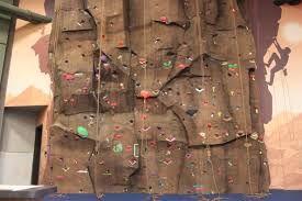 This picture shows one of the rock climbing walls that students may watch and work at.