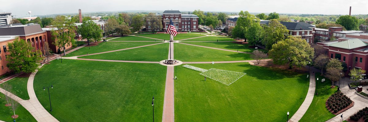 An aerial view of the flag pole at Mississippi State University