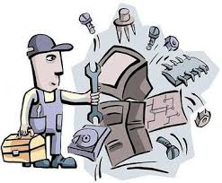 This is a clipart image of a man who is trying to fix the computer with various tools.
