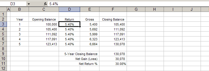 an example of a spreadsheet for balances