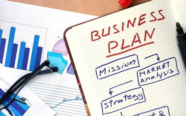 a business plan and different charts