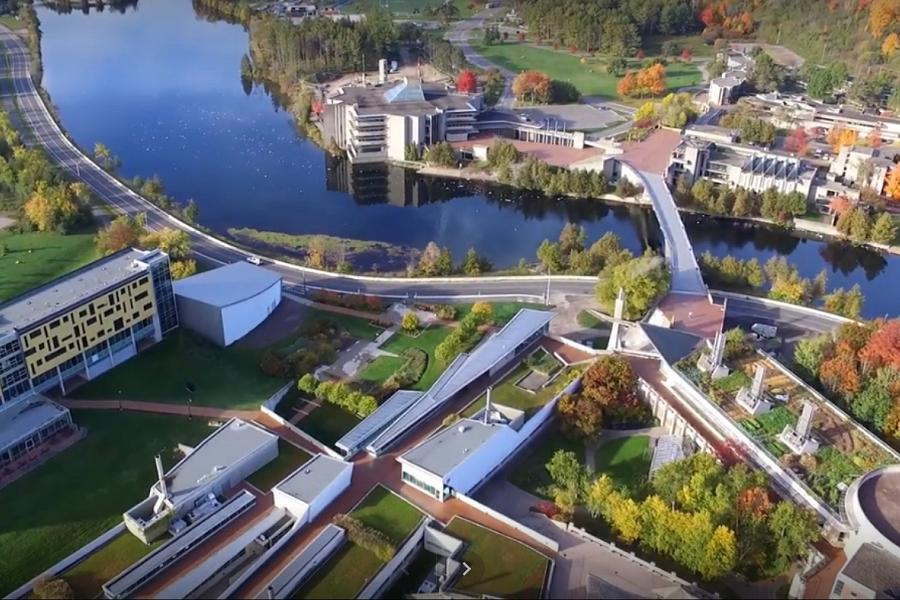 An aerial view of Trent University