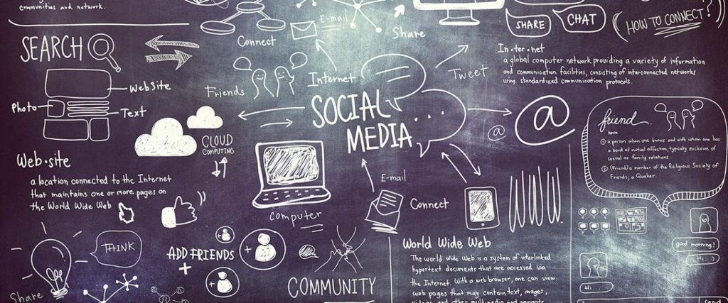 An image of social media communication drawn out on black chalkboard.