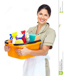 Lady holding cleaning materials