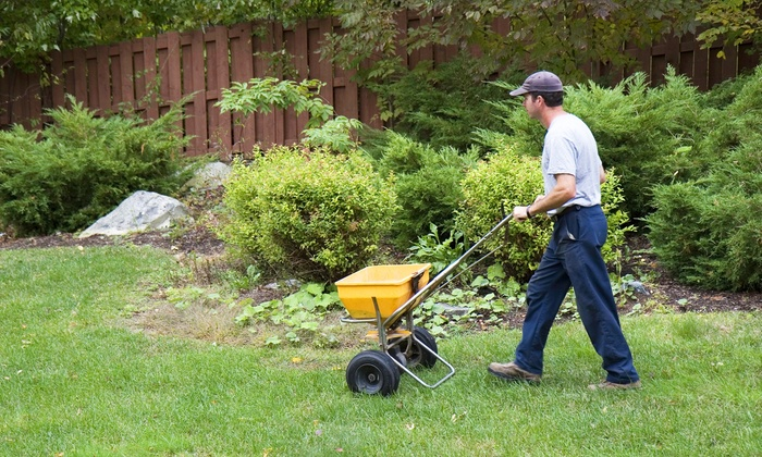 A man with a cap, a white shirt and blue pants trimming the lawn in a yard