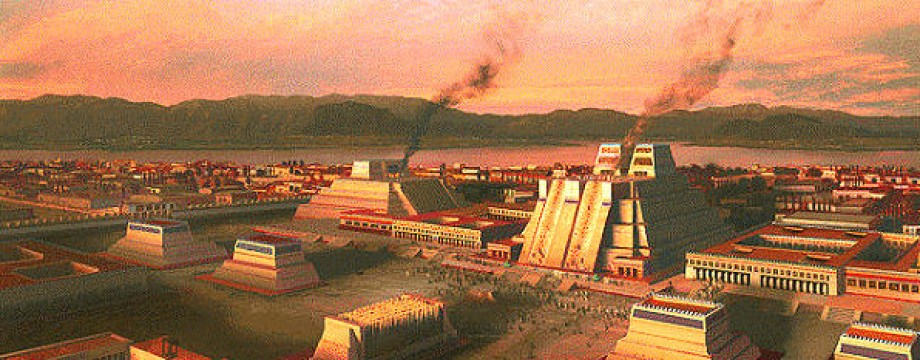 This image shows a replica of an Aztec city.