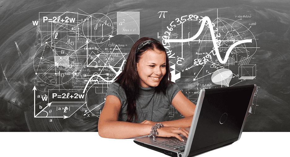 female student solving math problems on laptop