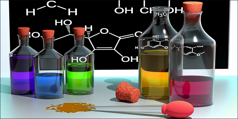A cartoon image of reagents and chemical reactions on the blackboard in the background