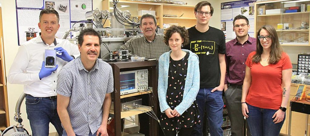 Physics students and faculty at the University of Lethbridge physics lab.