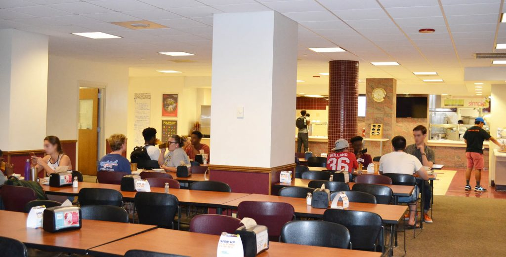 students eating at the cobeen dining hall