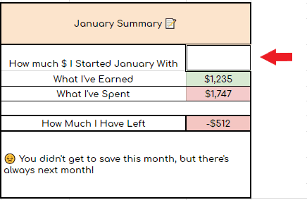 a college student budget template calculating the january summary with how much money was started with, how much was earned, what was spent and how much was left