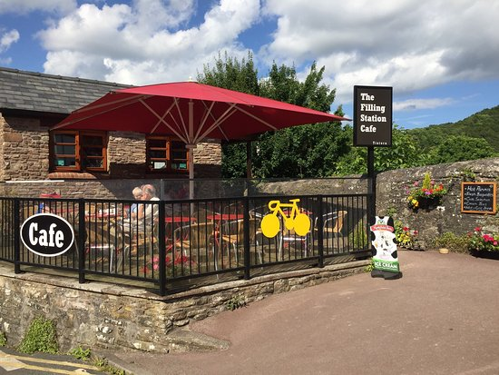 Outdoor booth of the filling station cafe