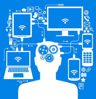social media, communication in the global computer networks. silhouette of a human head with an interface icons.