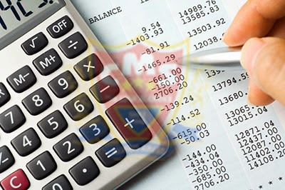 a man checking balance sheet values using calculator