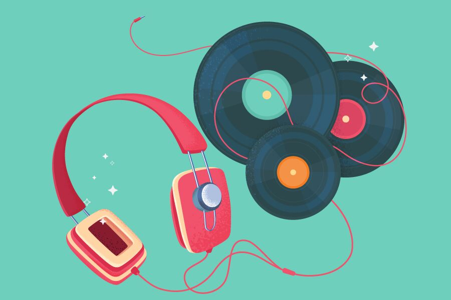 Colourful illustration headphone and CDs