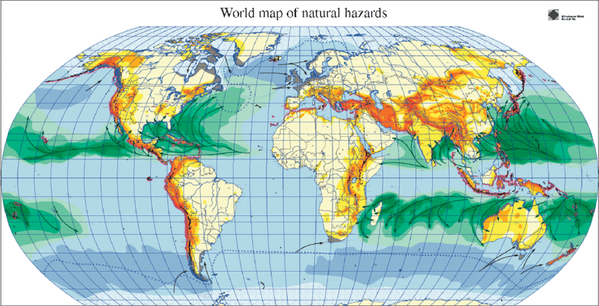 world map of natural hazard