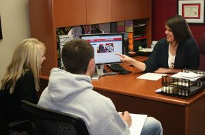 Student admission coordinator helping students with admission process