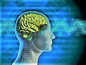 Bioelectricity shown by electric waves going through person's brain