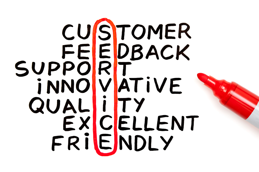 The ingredient of Customers Relations, lined up to make the word Service vertically, circled in red marker