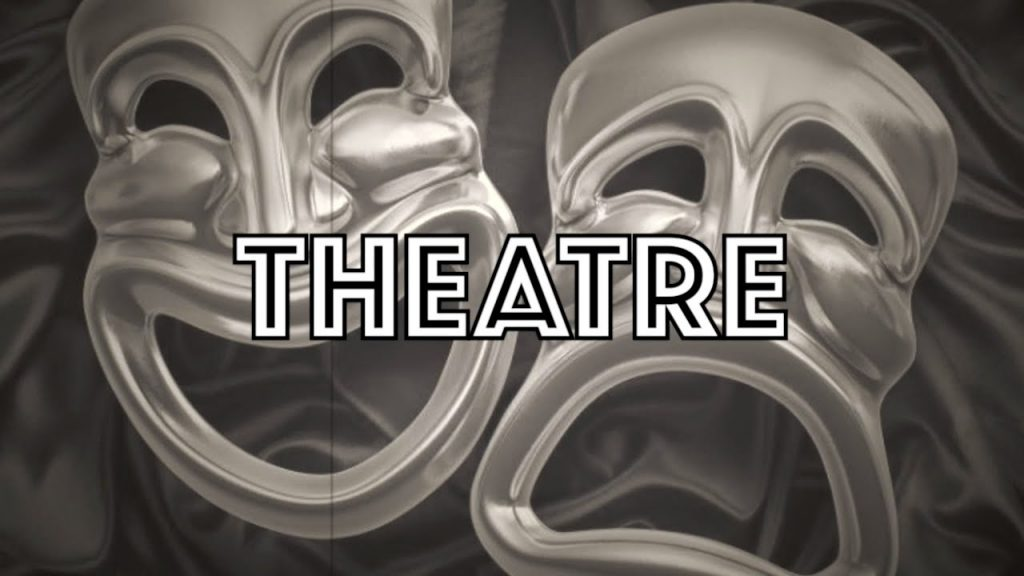 black and white picture of the masks representing theatre and the word written on the foreground