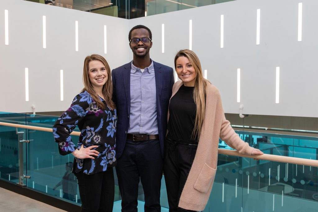 Silvia Bezzi, Arielle Fitzgerald, Marc Nzojibwami who are co-founders of Mooch, a mount royal university startup