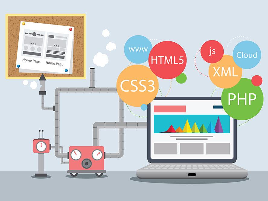 Cartoon of several tools for Web Design