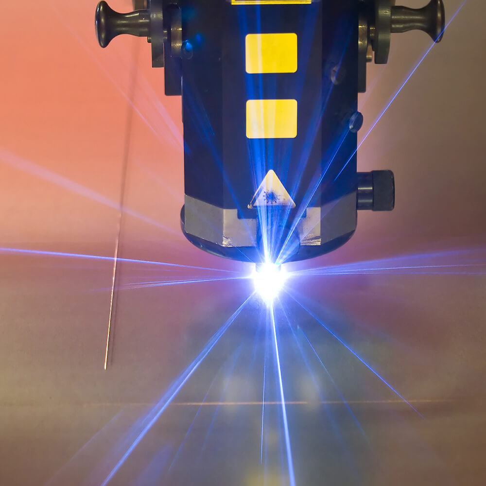 Laser beaming out for observation and examination.