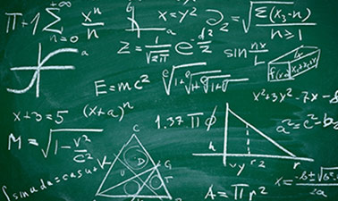 Picture of math equations on a blackboard
