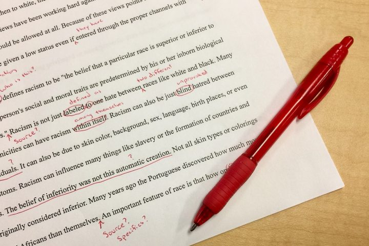 a paper with edits to make