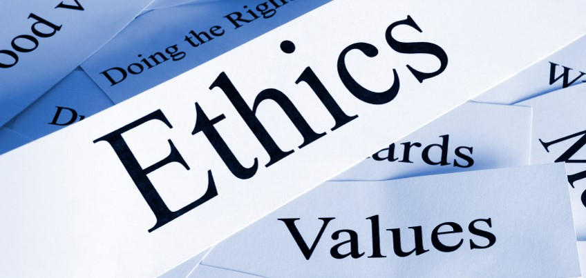The image shows the words ethics, values, and some of the things that fall under the two topics