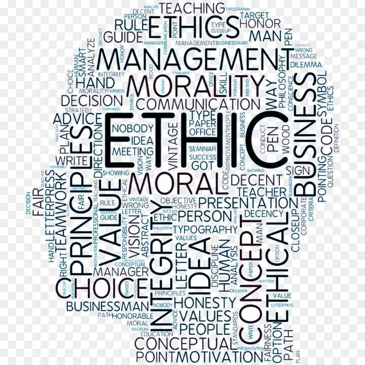 Terms related to Ethics as wordcloud in the shape of person's head