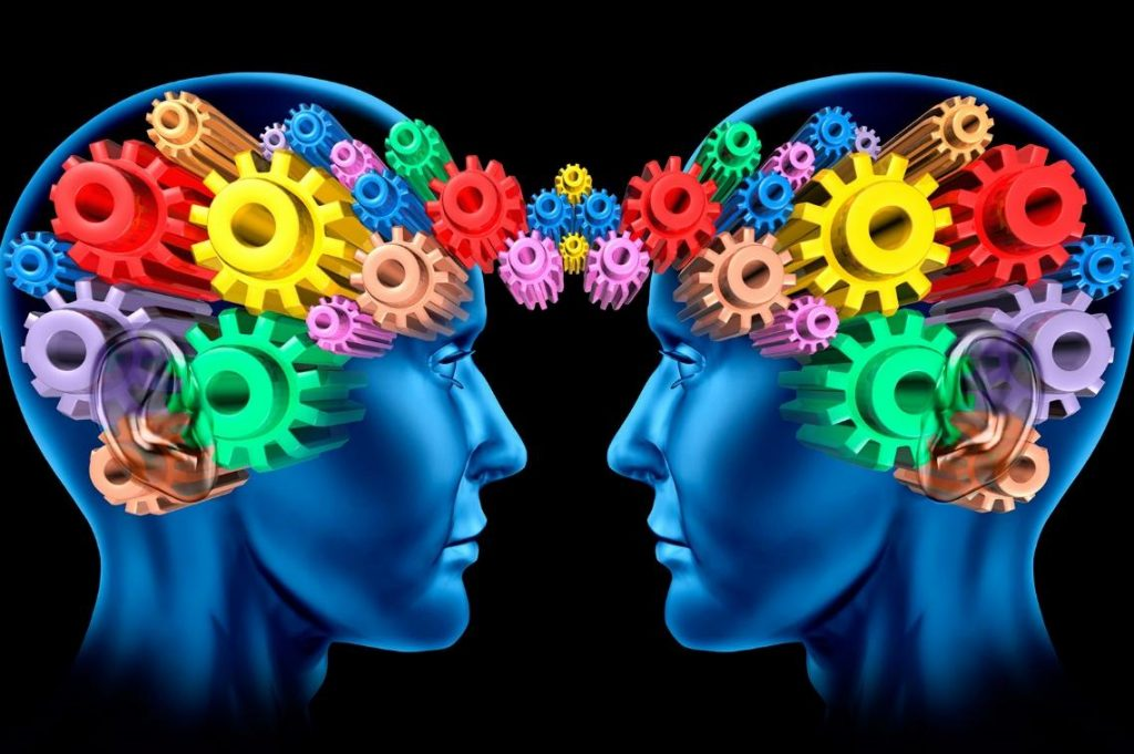 2 human brains showing cogs instead of brains