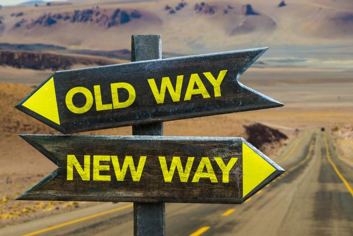 Sign board of two ways towards change