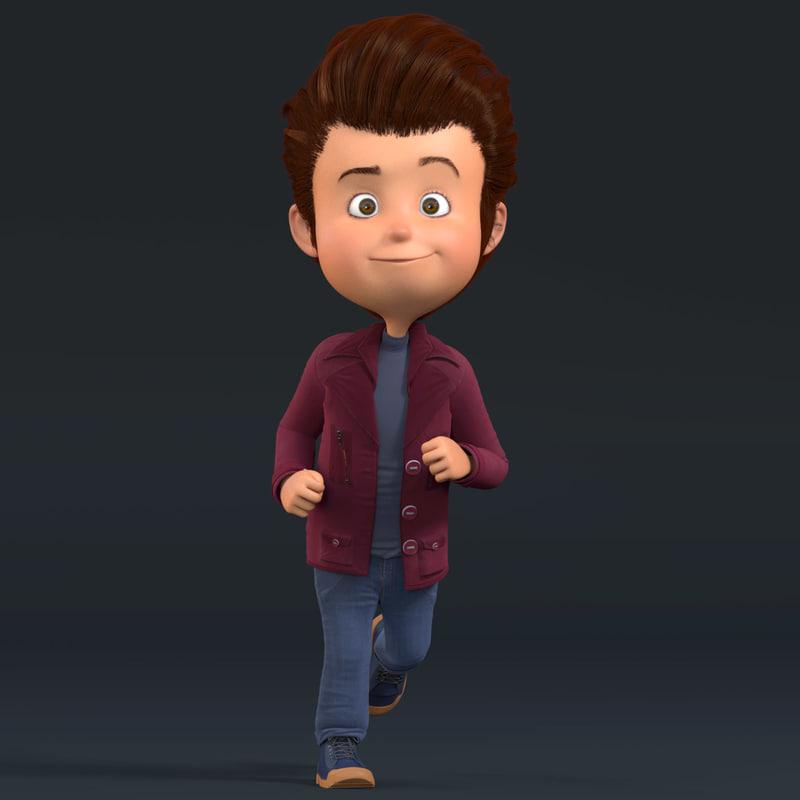 3d cartoon boy rigged character