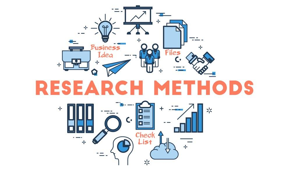 Various research methods with icons representing differnt aspects