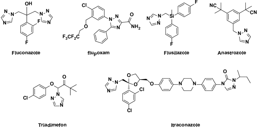 chemical structures of different drugs
