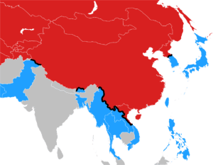 World map of modern east asia