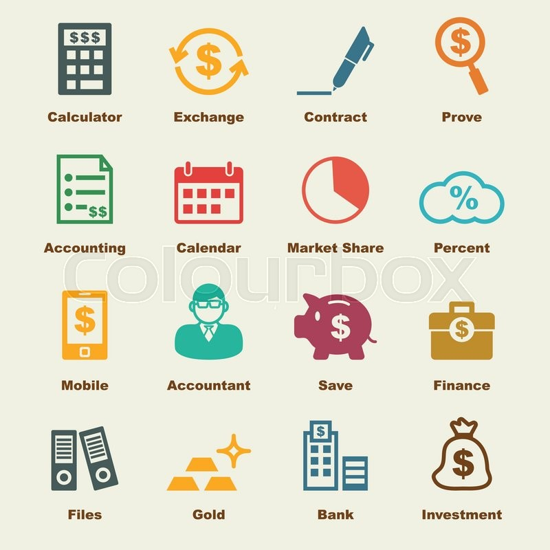 This picture depicts some of the elements of accounting through colourful icons