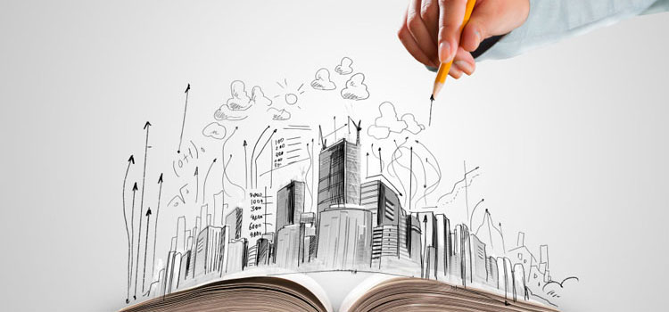 a person drawing buildings through the books