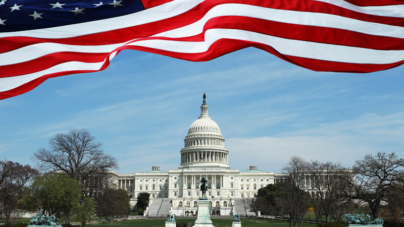 Picture of American flag and seat of power