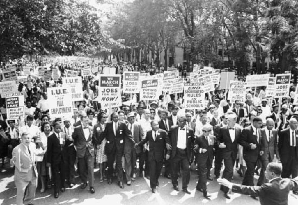 Black and white picture of a protest