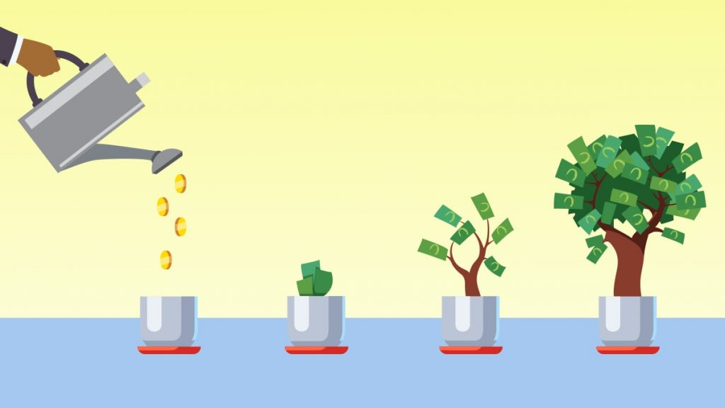 money on a tree growing illustrated by a cartoon
